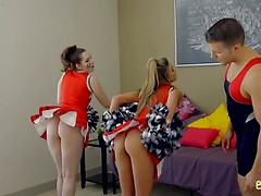 Perky cheerleader Ms Faris lets her stepbrother seduce her into a creampie pussy pounding while Ember Stone watches
