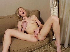 Angelic blonde Gerda Y. has a gorgeous body that she'll let you admire. Her bra hugs her small breasts and her thong cups her tight ass. Enjoy her small nipples and soft bald pussy that fills with cream as she shows you how she likes her fuck hole fondle